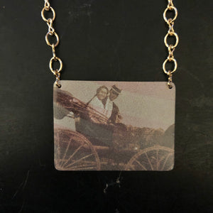 Couple in Vintage Car Tin Necklace