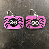 Purple with Black Spider Tin Earring