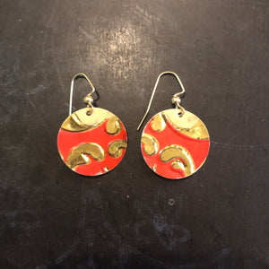 Small Circle Red, White and Gold Swirl Tin Earrings