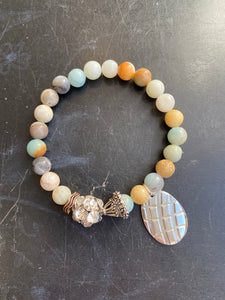 Amazonite Beaded with Silver Tin Charm Bracelet