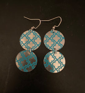 Tiered Silver and Blue Quatrefoil Circle Tin Earrings