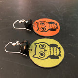 Green and Orange Owl Tin Earrings with Bead