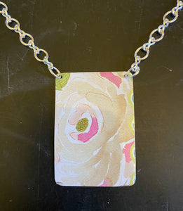 Cream and Pink Painted Flower Tin Necklace