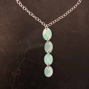 Tiered Turquoise and Aqua Quatrefoil Tin Necklace