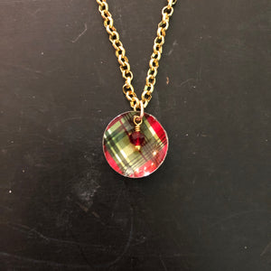 Plaid Domed Tin Necklace with Bead
