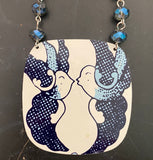 Blue Lovebirds Tin Necklace with Glass