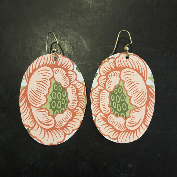 Large Pink Lotus Flower Tin Earrings