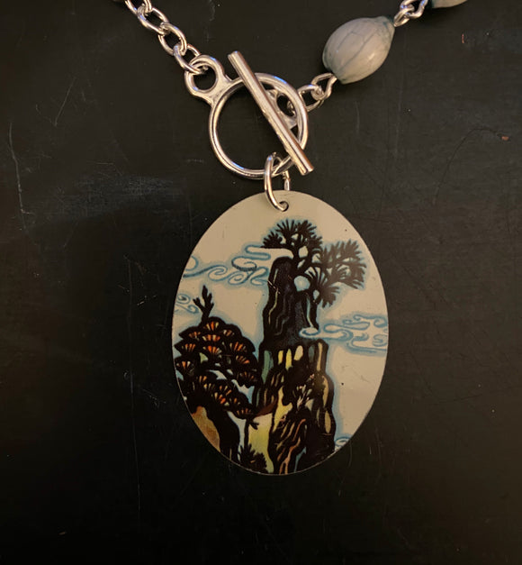 Asian Landscape Tin Necklace with Beads