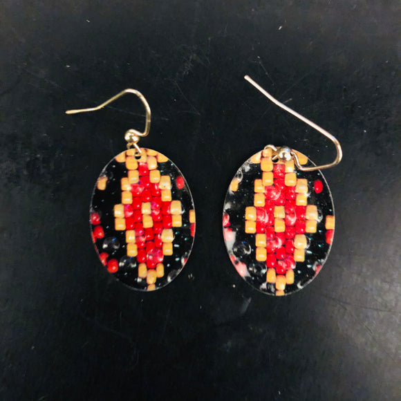 Red, Black and Yellow Faux Bead Oval Tin Earrings