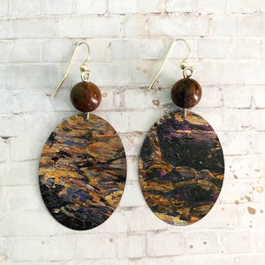 Painted Landscape Tin Earrings with Beads