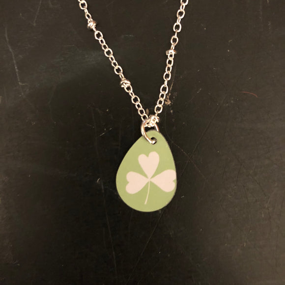 Tiny Teardrop White Shamrock Tin Necklace