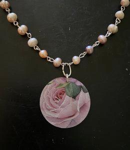 Pink Rose Tin Necklace with Freshwater Pearl