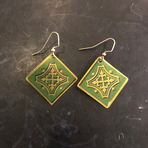 Green and Gold Cross Arms Tin Earrings