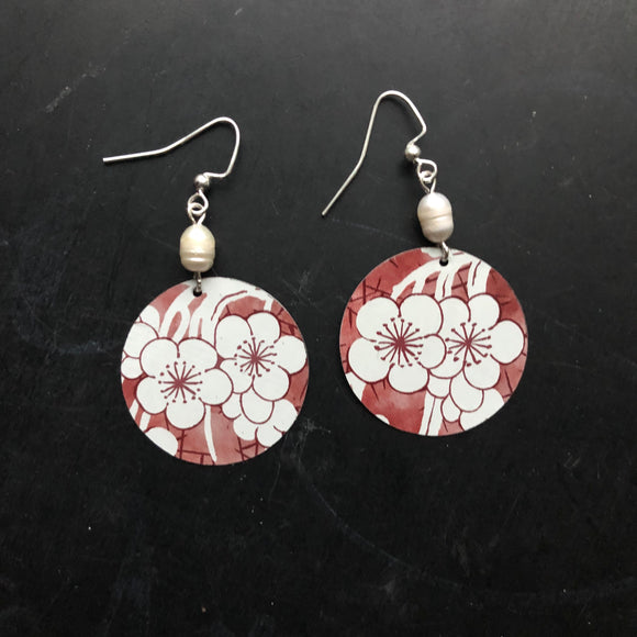 Red and White Cherry Flower Tin Earrings with Freshwater Pearls