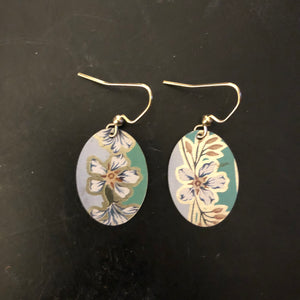 Green with White Flowers Tin Earrings