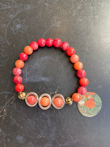 Orange and Pink Glass Bead with Silver Tin Charm Bracelet