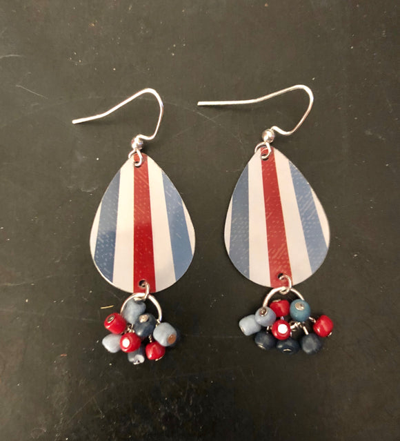 Red White and Blue Striped Tin Earrings with Beads