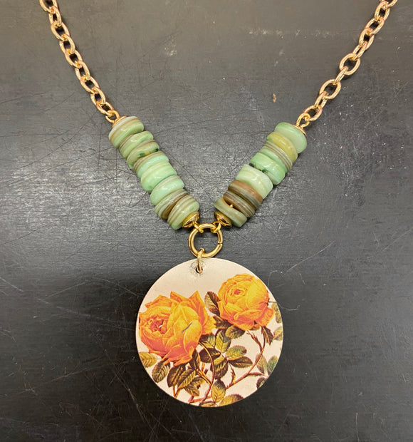 Yellow Rose Circle Tin Necklace with Green Shell Bead