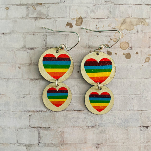 Two Tiered Circle Rainbow Heart Tin Earrings