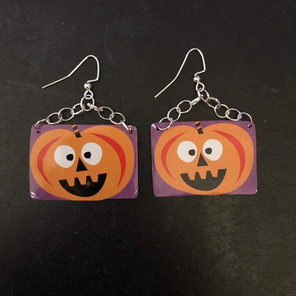 Excited Pumpkin Tin Earring