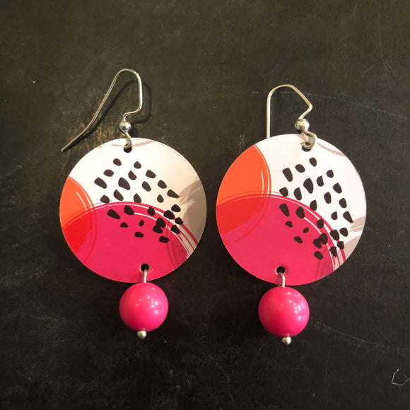 Hot Pink and Black Circles with Vintage Pink Bead Tin Earrings