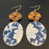Blue and White Oval Floral Tin Earrings with Brass Beads