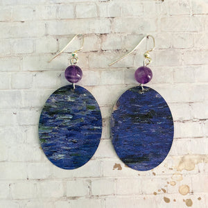Purple and Blue Abstract Waves Oval Tin Earrings with Beads