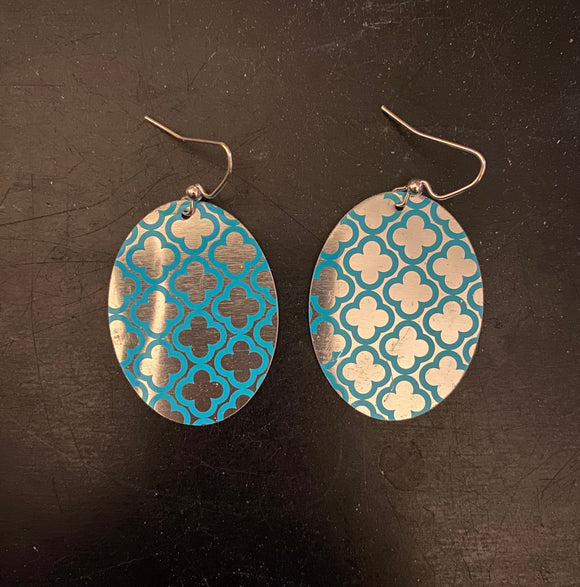 Silver and Blue Quatrefoil Oval Tin Earrings