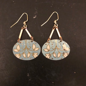 Light Blue and Gold Floral Tin Earrings