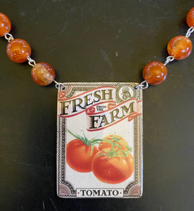 Farm Fresh Tomato Tin Necklace