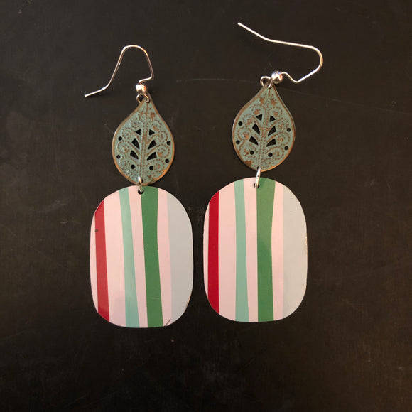 Striped Rectangle Tin Earrings with Leaves