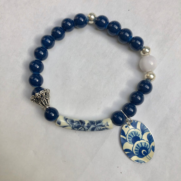 Copy of Navy and Silver Beaded Floral Tin Charm Bracelet