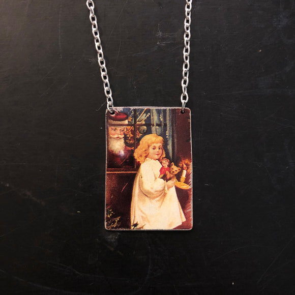 Santa in the Window Necklace  Tin Necklace