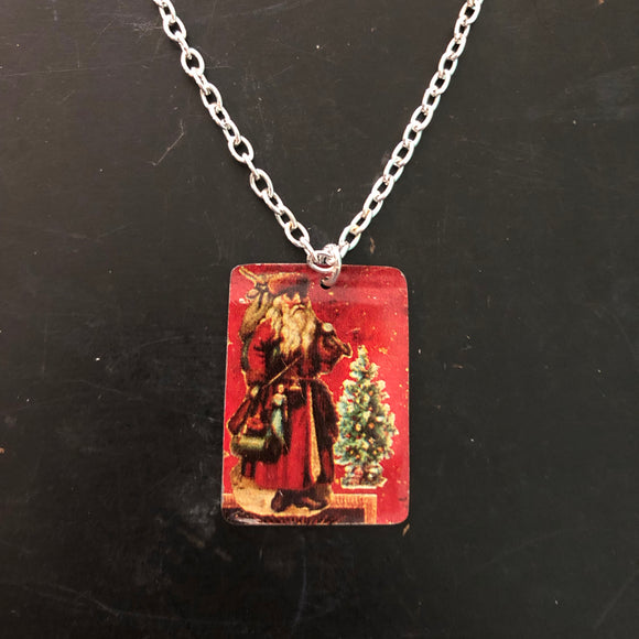 Santa at Chimney Tin Necklace