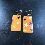 Orange with Stars Tin Earring