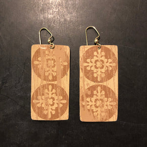 Rectangle Distressed Filigree Tin Earrings