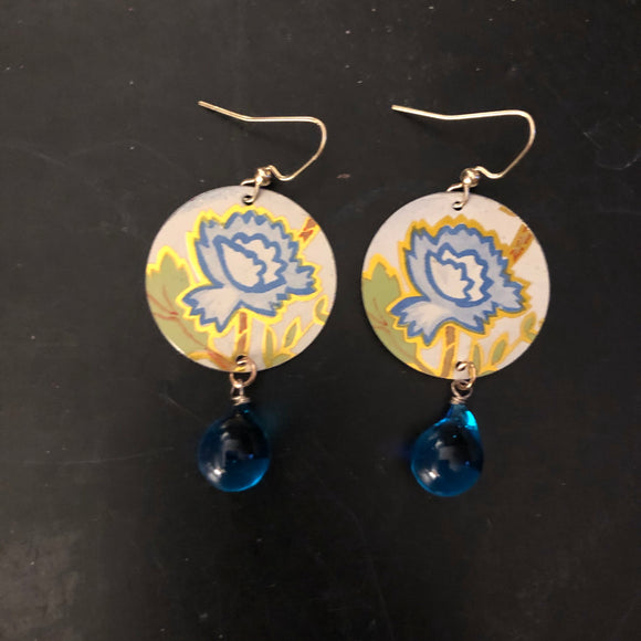 Blue Flowers Tin Earrings with Beads