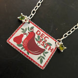 Partridge Tin Necklace with Beads