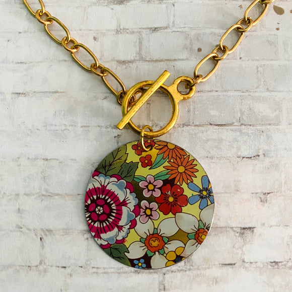 Multicolored Floral Circle Tin Necklace