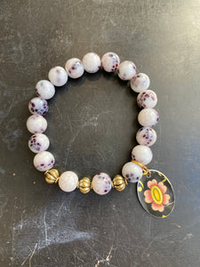Dalmatian Jasper and Silver Beaded Tin Charm Bracelet