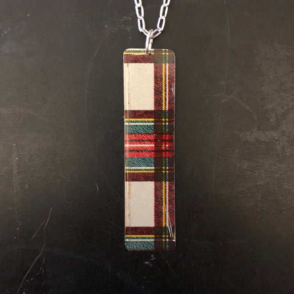 Long Red and Green Plaid Rectangle Tin Necklace
