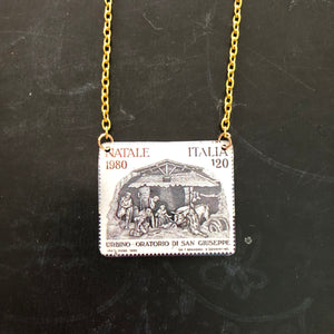 Italian Postage Stamp Nativity Tin Necklace
