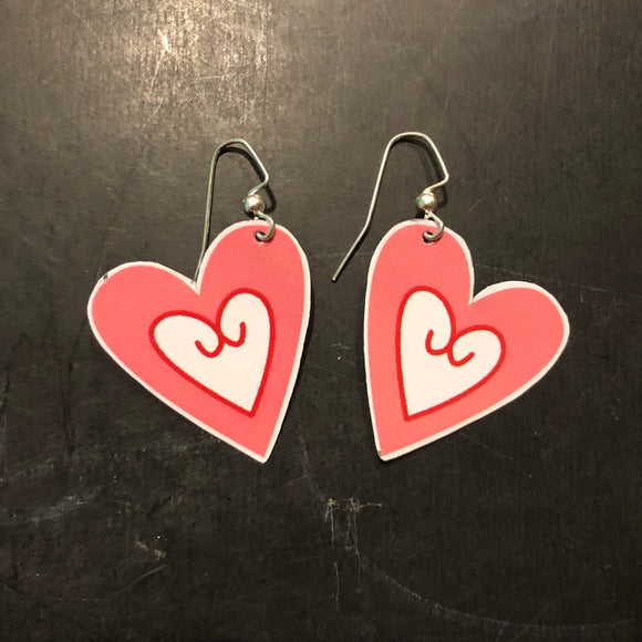 Pink and White Hearts Tin Earrings