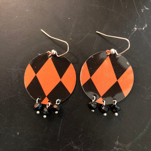Black and Orange Circle Tin Earrings with Bead