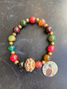 Multicolored Jasper and Gold Rhinestone Bird Tin Charm Bracelet