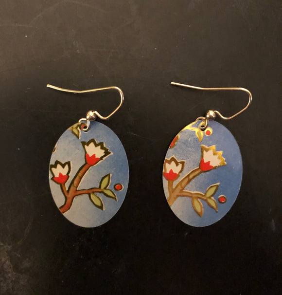 White Flowers on Tree Branch Tin Earrings