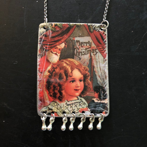 Christmas Girl with Doll Tin Necklace with Beads