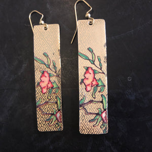 Long Rectangle Gold and Coral Asian Floral Tin Earrings