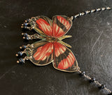 Orange Butterly Tin Necklace with Beads