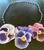 Pink and Purple Pansies Tin Necklace